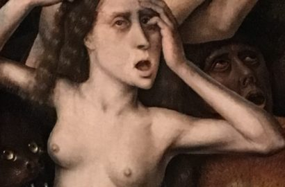 painting of a distressed naked woman