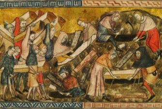 medieval painting of people carrying wooden caskets and digging graves