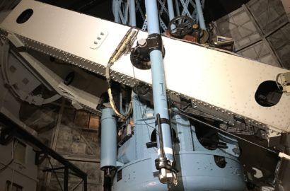 large blue and white telescope