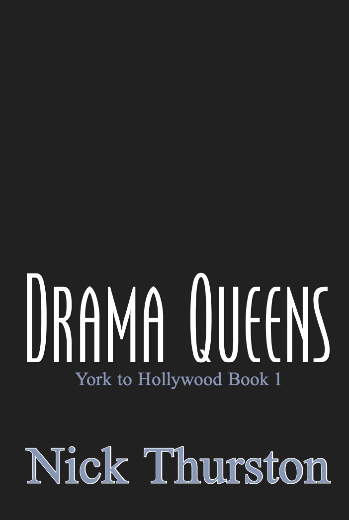 cover of Drama Queens by Nick Thurston: dark gray image white and blue text