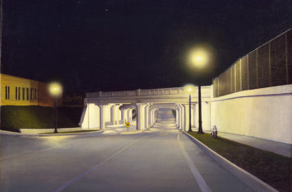 painting of a highway underpass in binghamton, ny